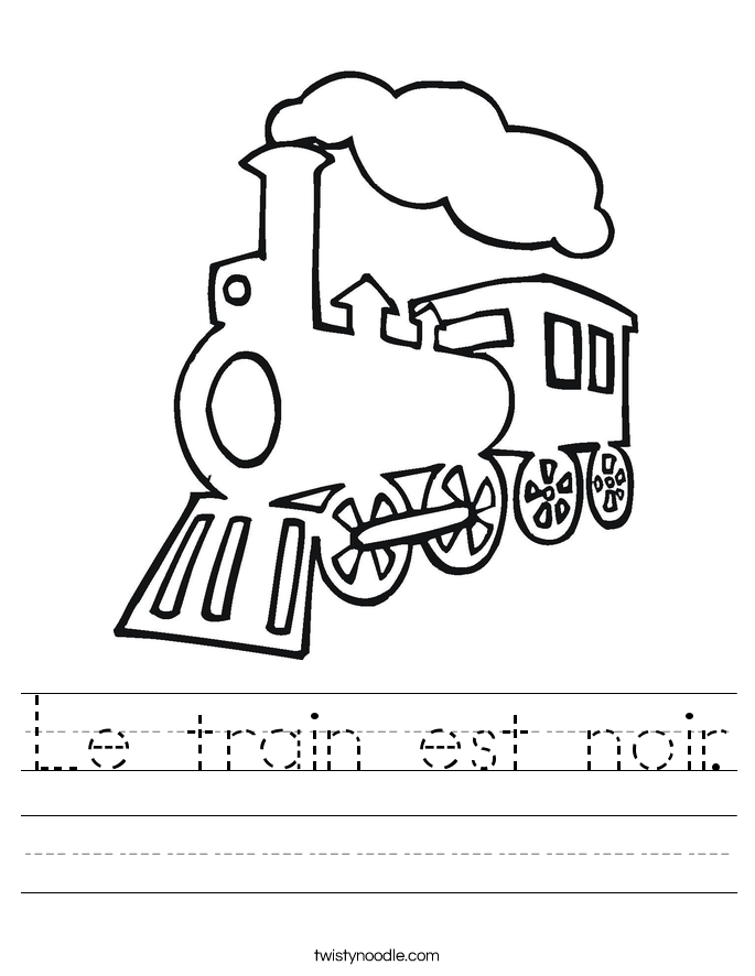 Le train est noir. Worksheet
