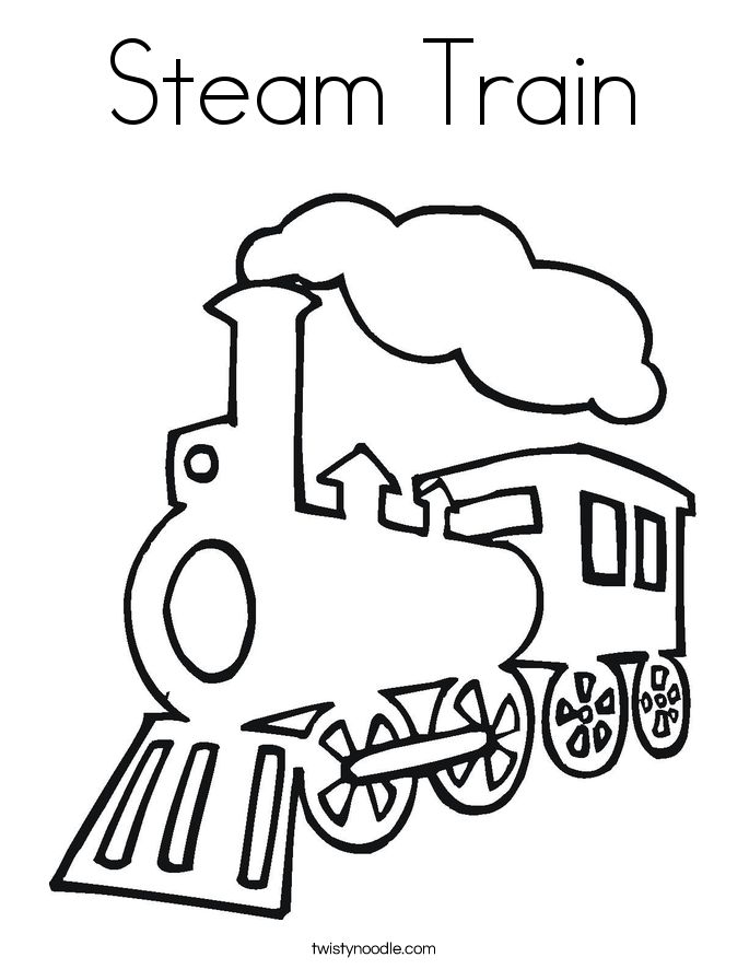 Steam Train Coloring Page.