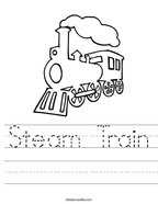 Steam Train Handwriting Sheet