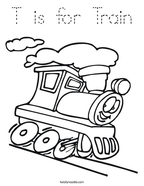 T is for Train Coloring Page