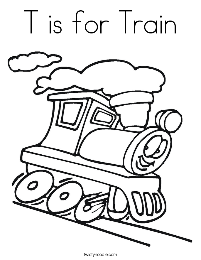 T is for Train Coloring Page - Twisty Noodle