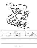T is for Train Handwriting Sheet