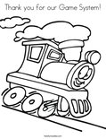 Thank you for our Game System! Coloring Page