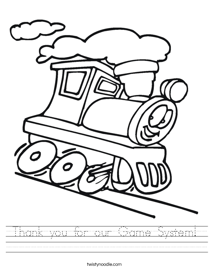 Thank you for our Game System! Worksheet