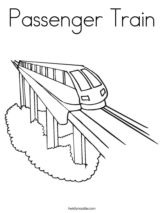 Amazing Passenger Train Coloring Page With Car Pages