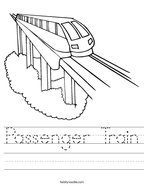 Passenger Train Handwriting Sheet