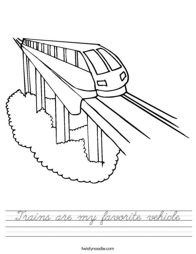 Trains are my favorite vehicle Worksheet