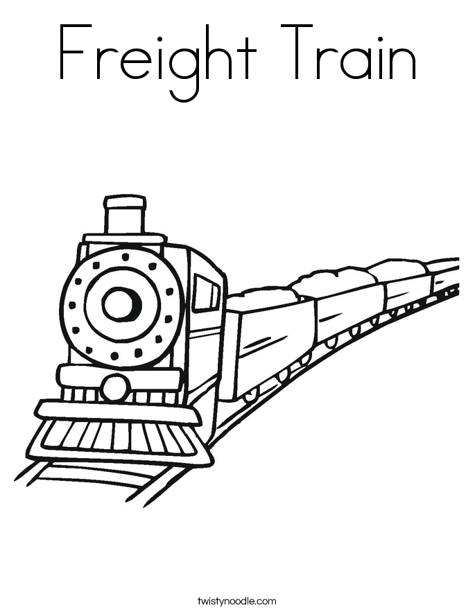 freight train coloring page - Train Coloring Pages