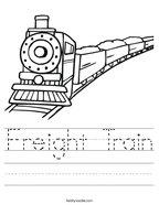 Freight Train Handwriting Sheet