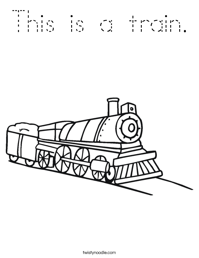 This is a train Coloring Page - Tracing - Twisty Noodle