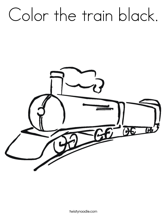Color the train black. Coloring Page