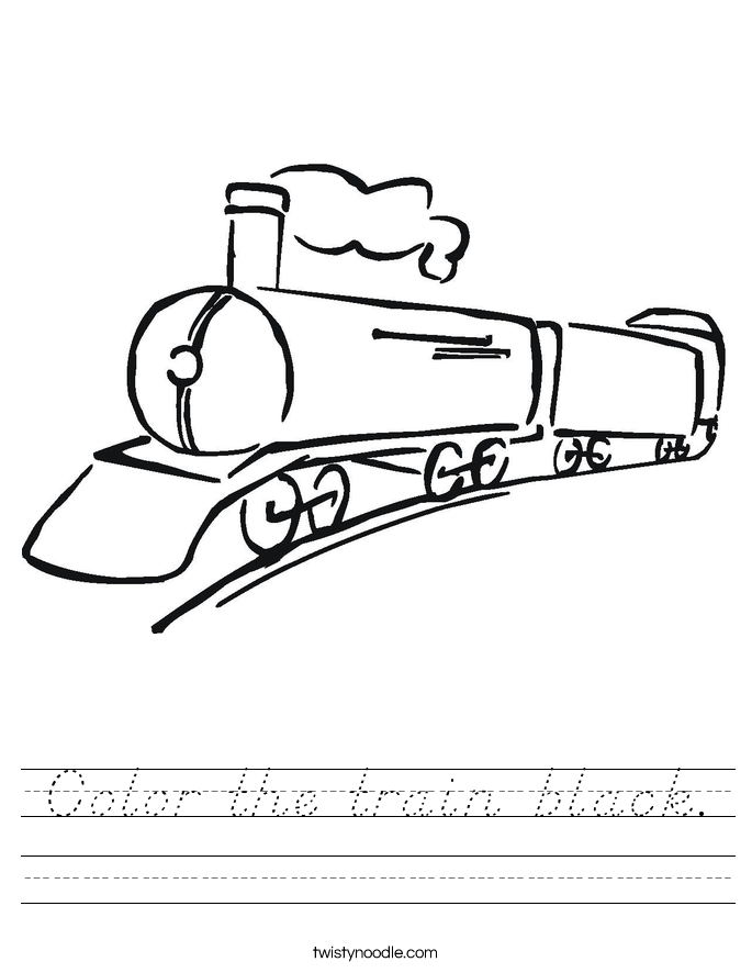 Color the train black. Worksheet