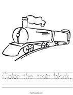 Color the train black Handwriting Sheet