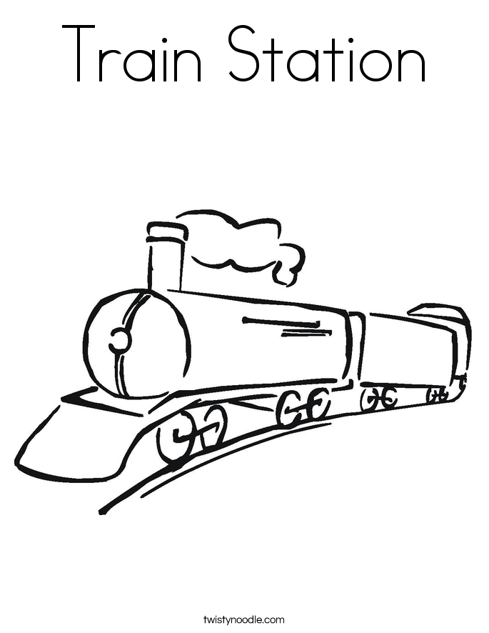 Train Station Coloring Page Twisty Noodle