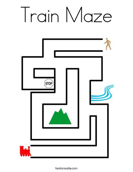 Train Maze Coloring Page