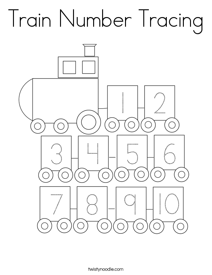 Train Number Tracing Coloring Page