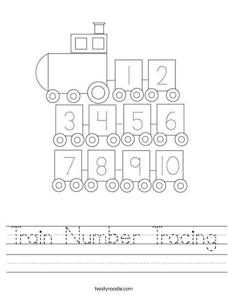 Train Number Tracing Worksheet