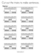 Cut out the trains to make sentences Coloring Page