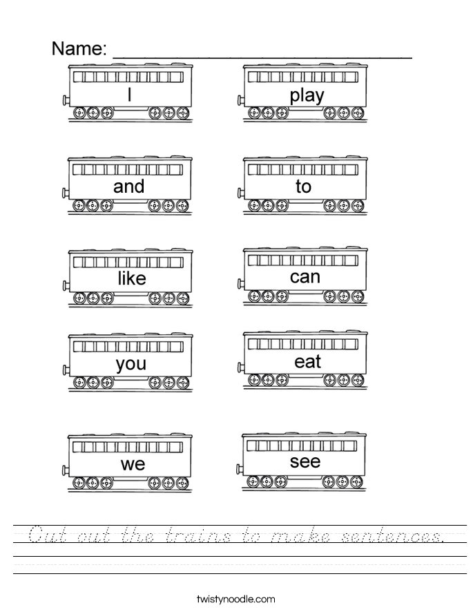 Cut out the trains to make sentences. Worksheet