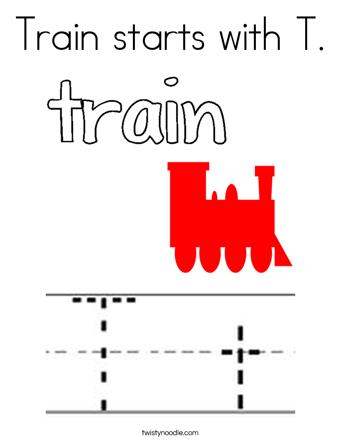 Train starts with T. Coloring Page