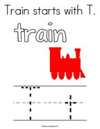 Train starts with T Coloring Page