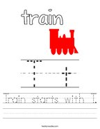 Train starts with T Handwriting Sheet