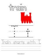 Train starts with T Handwriting Sheet