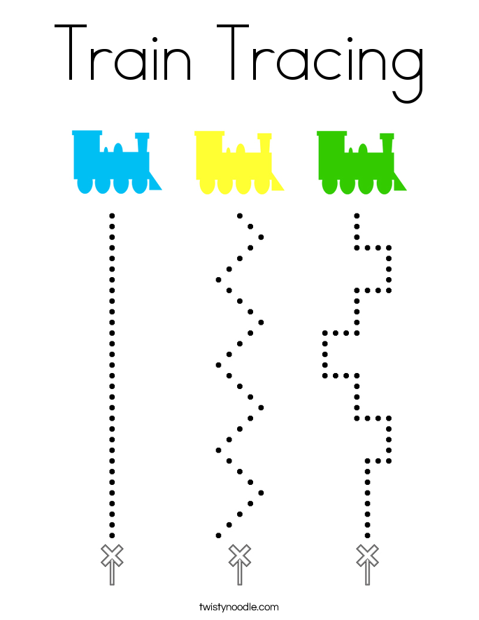 Train Tracing Coloring Page