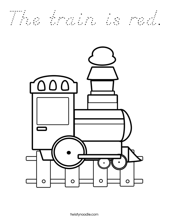 The train is red. Coloring Page