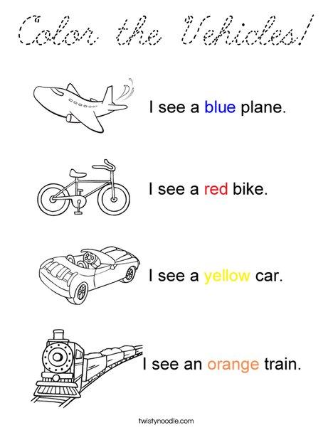 Transportation Colors Coloring Page