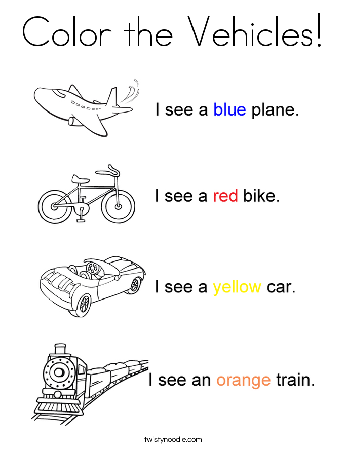 Color the Vehicles! Coloring Page