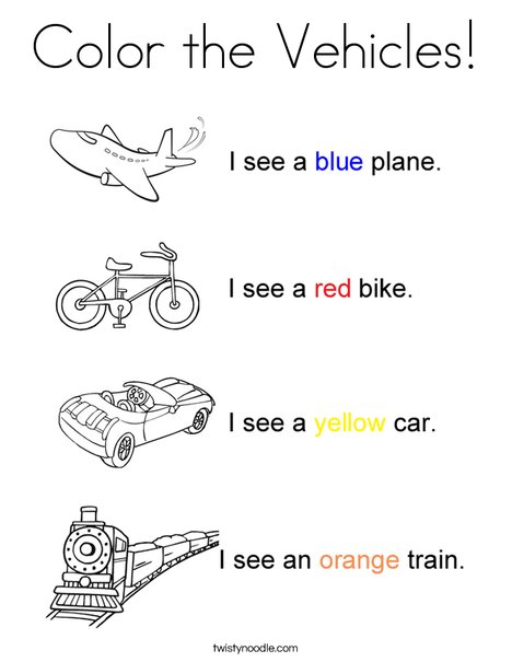 Transportation colors coloring page