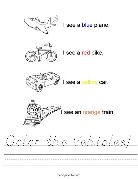 Transportation Colors Worksheet