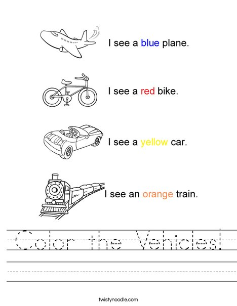 Color the Vehicles Worksheet - Twisty Noodle