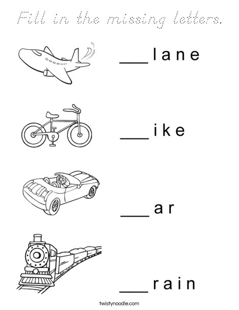 Transportation Missing Letters Coloring Page