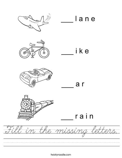 Transportation Missing Letters Worksheet