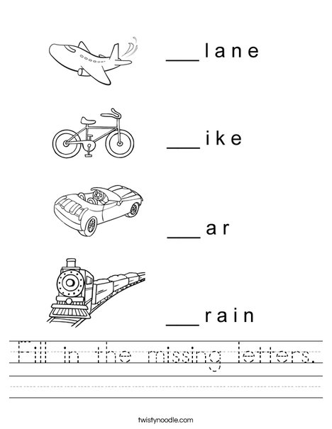 Number Names Worksheets fill in the missing letters : Fill in the missing letters Worksheet - Twisty Noodle