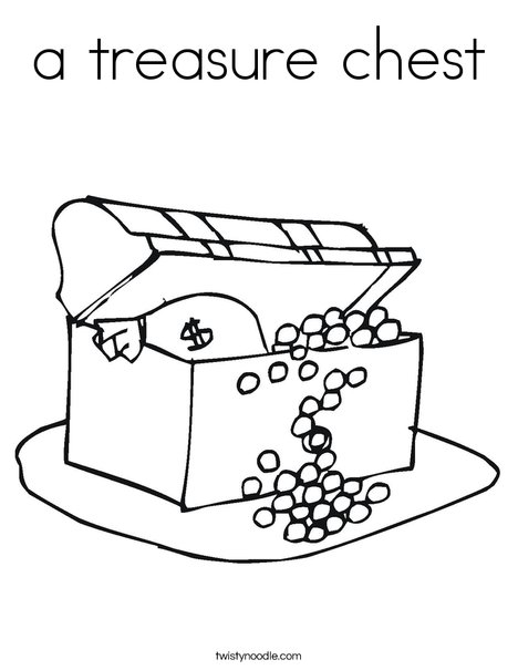 Treasure Chest with Gold Coloring Page