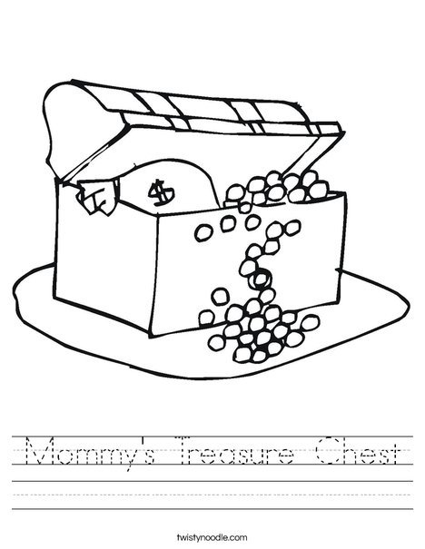 Treasure Chest with Gold Worksheet