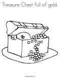 Treasure Chest full of gold. Coloring Page