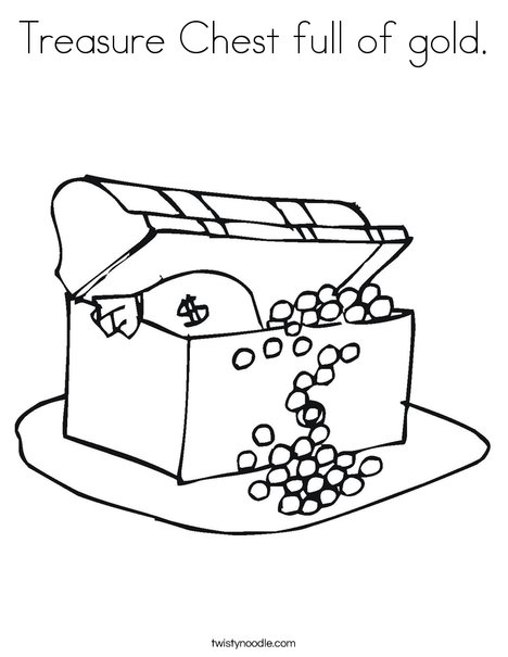 Treasure Chest full of gold Coloring Page Twisty Noodle