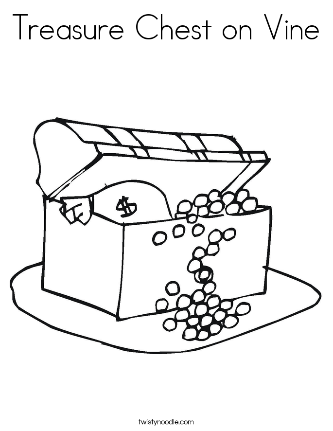 Treasure Chest on Vine Coloring Page