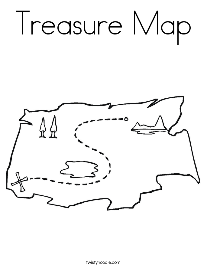 Treasure Map Coloring Page Twisty Noodle