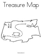 Treasure Map Coloring Page  X Marks The Spot Coloring Page