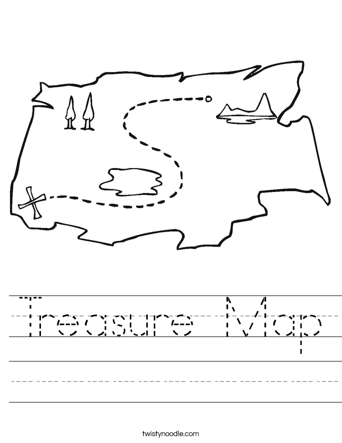 X Marks The Spot Coloring Page Treasure Map Worksheet...
