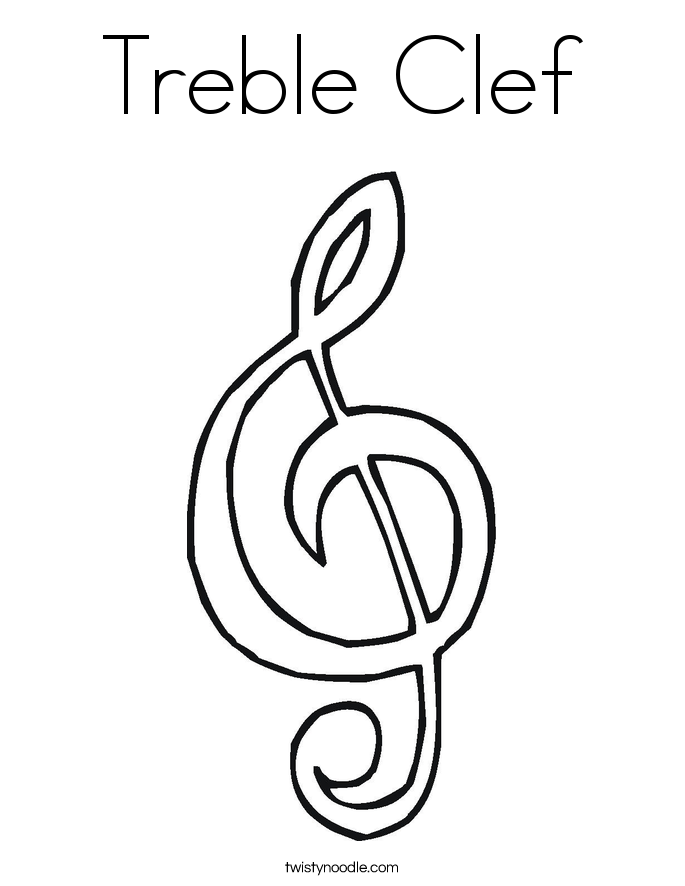 This is a photo of Divine Treble Clef Coloring Page
