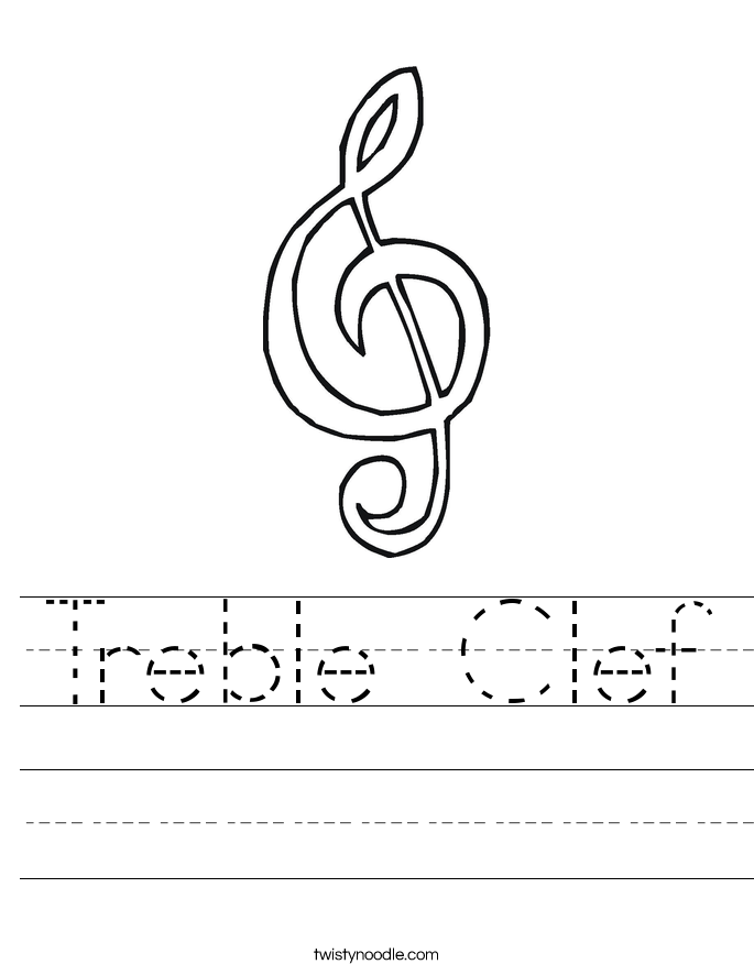 Treble Clef Worksheet - Twisty Noodle