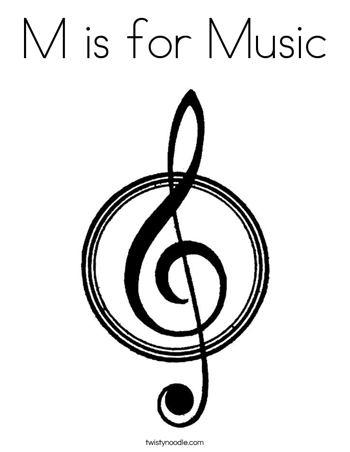 m is for music coloring page - Music Coloring Pages
