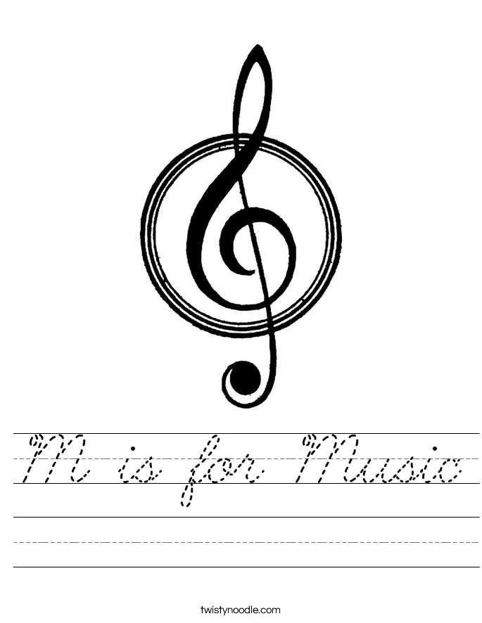 M is for Music Worksheet
