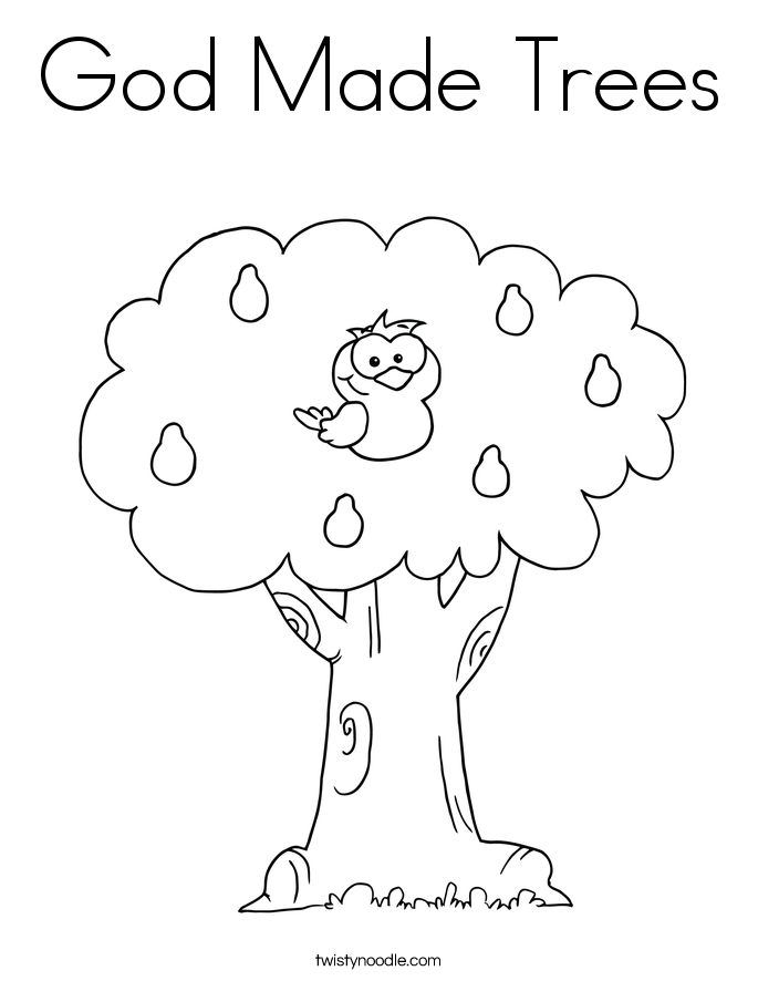God Made Trees Coloring Page